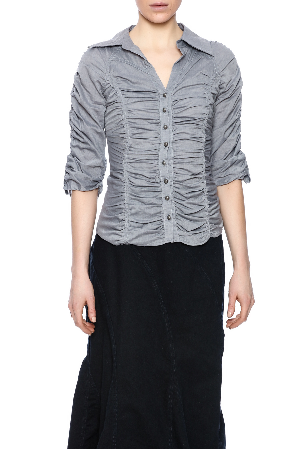 Roma Premium Collection Shirred Button Blouse - Side Cropped Image