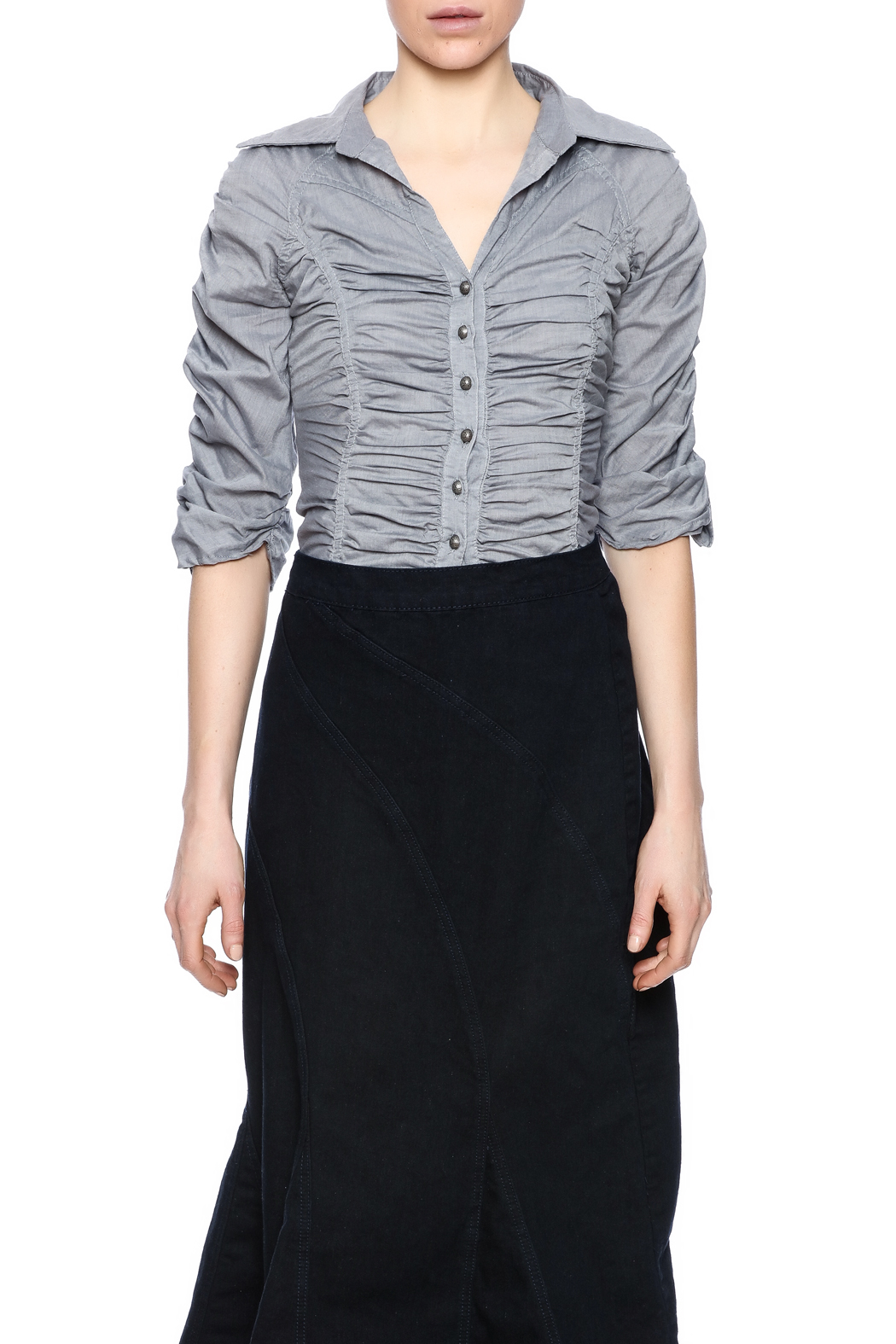 Roma Premium Collection Shirred Button Blouse from New Jersey by Covered Girl Clothing u2014 Shoptiques
