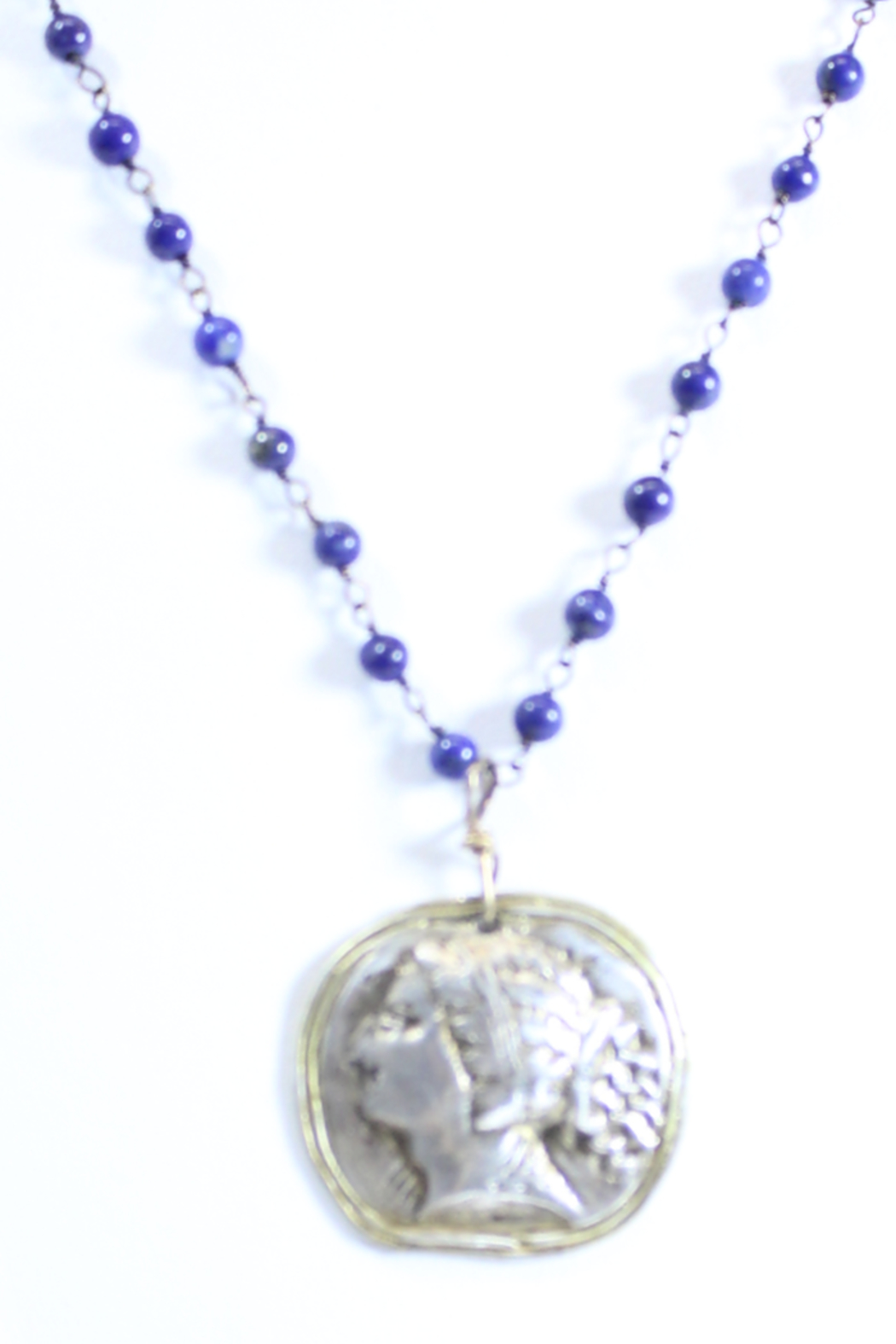 The Birds Nest ROMAN GIRL LAPIS ROSARY NECKLACE - 9 INCH CHAIN - Front Full Image