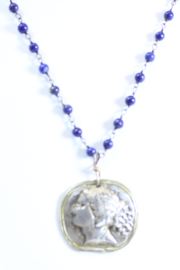The Birds Nest ROMAN GIRL LAPIS ROSARY NECKLACE - 9 INCH CHAIN - Front full body