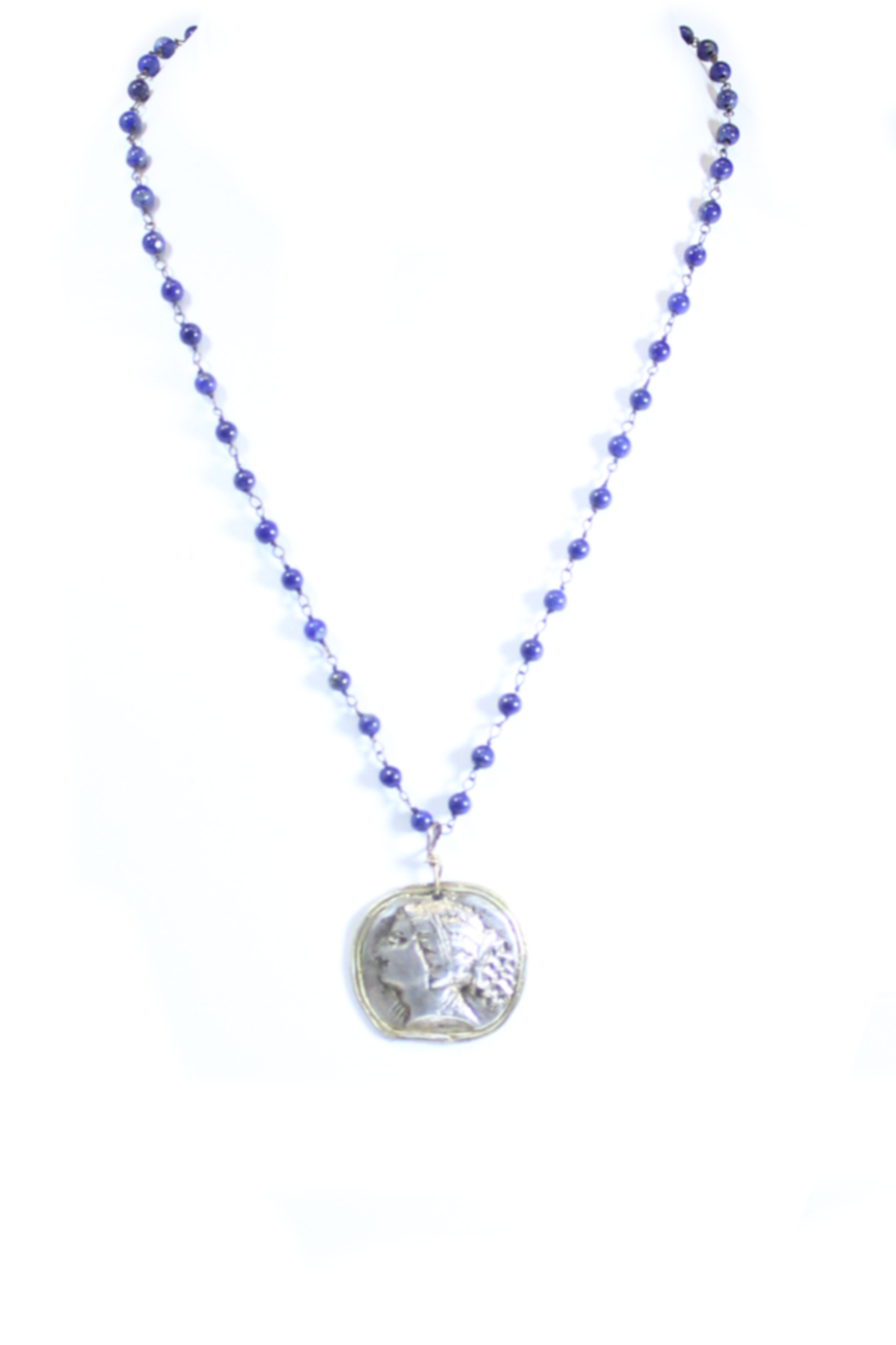The Birds Nest ROMAN GIRL LAPIS ROSARY NECKLACE - 9 INCH CHAIN - Main Image