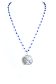 The Birds Nest ROMAN GIRL LAPIS ROSARY NECKLACE - 9 INCH CHAIN - Front cropped