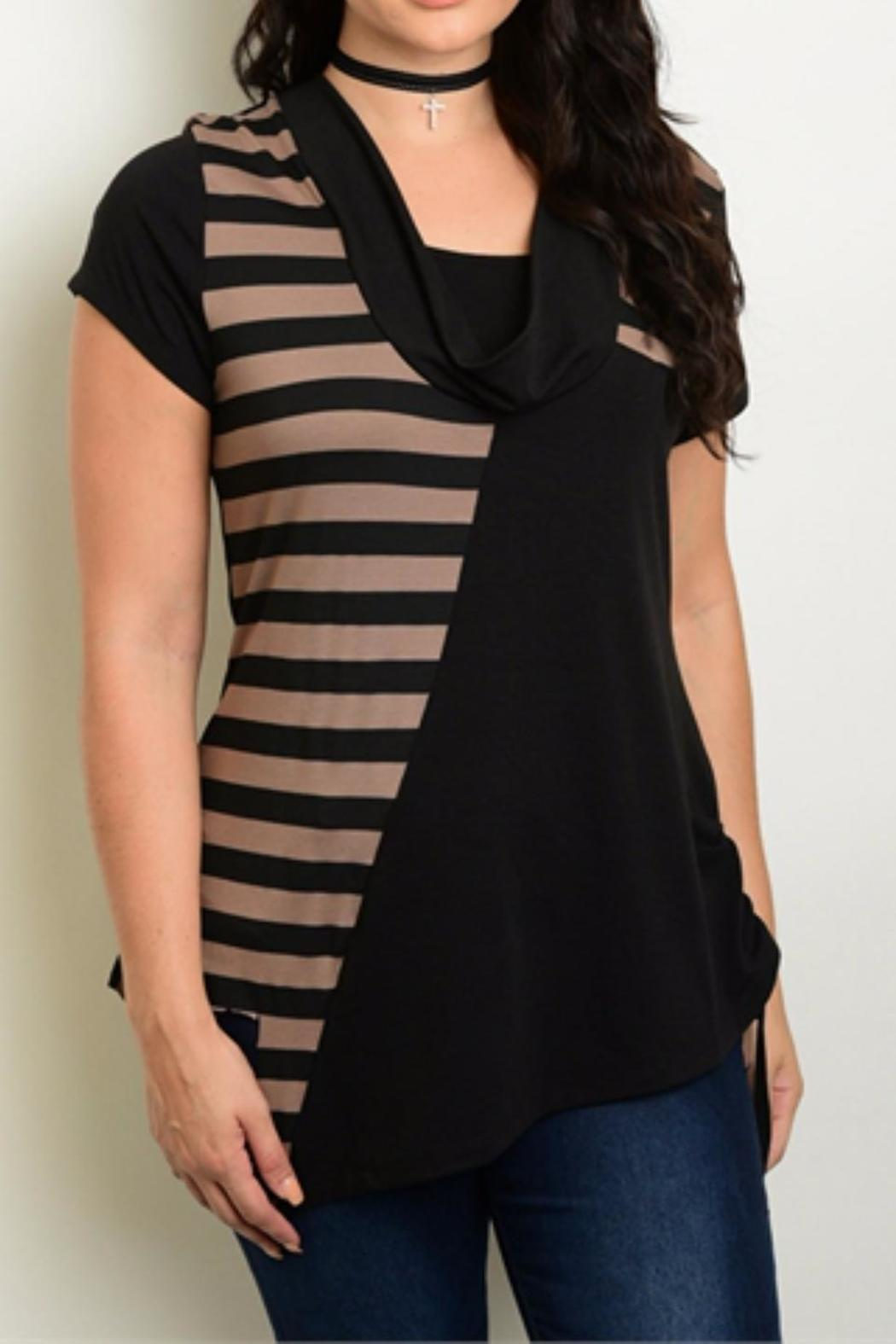 Roman Fashion Black Taupe Top - Front Cropped Image