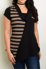 Roman Fashion Black Taupe Top - Product Mini Image