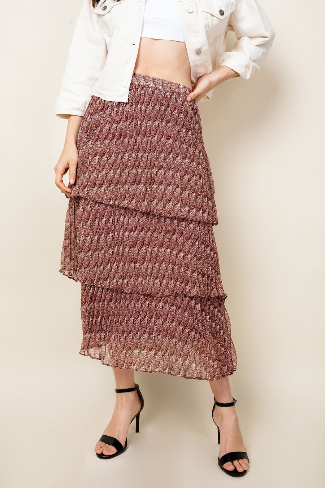 Thml Romance Me Pleated Tier Midi Skirt - Front Full Image