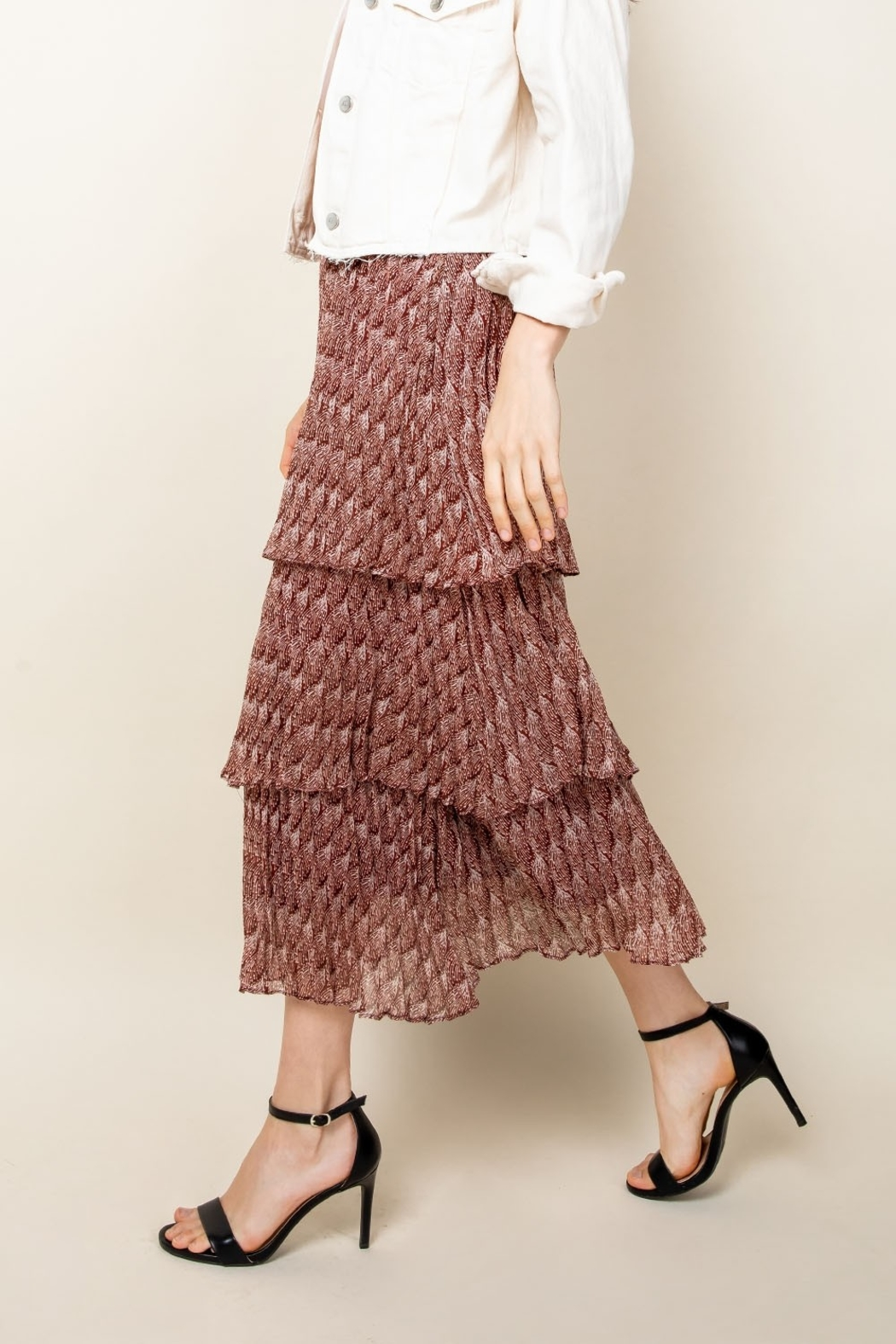 Thml Romance Me Pleated Tier Midi Skirt - Side Cropped Image