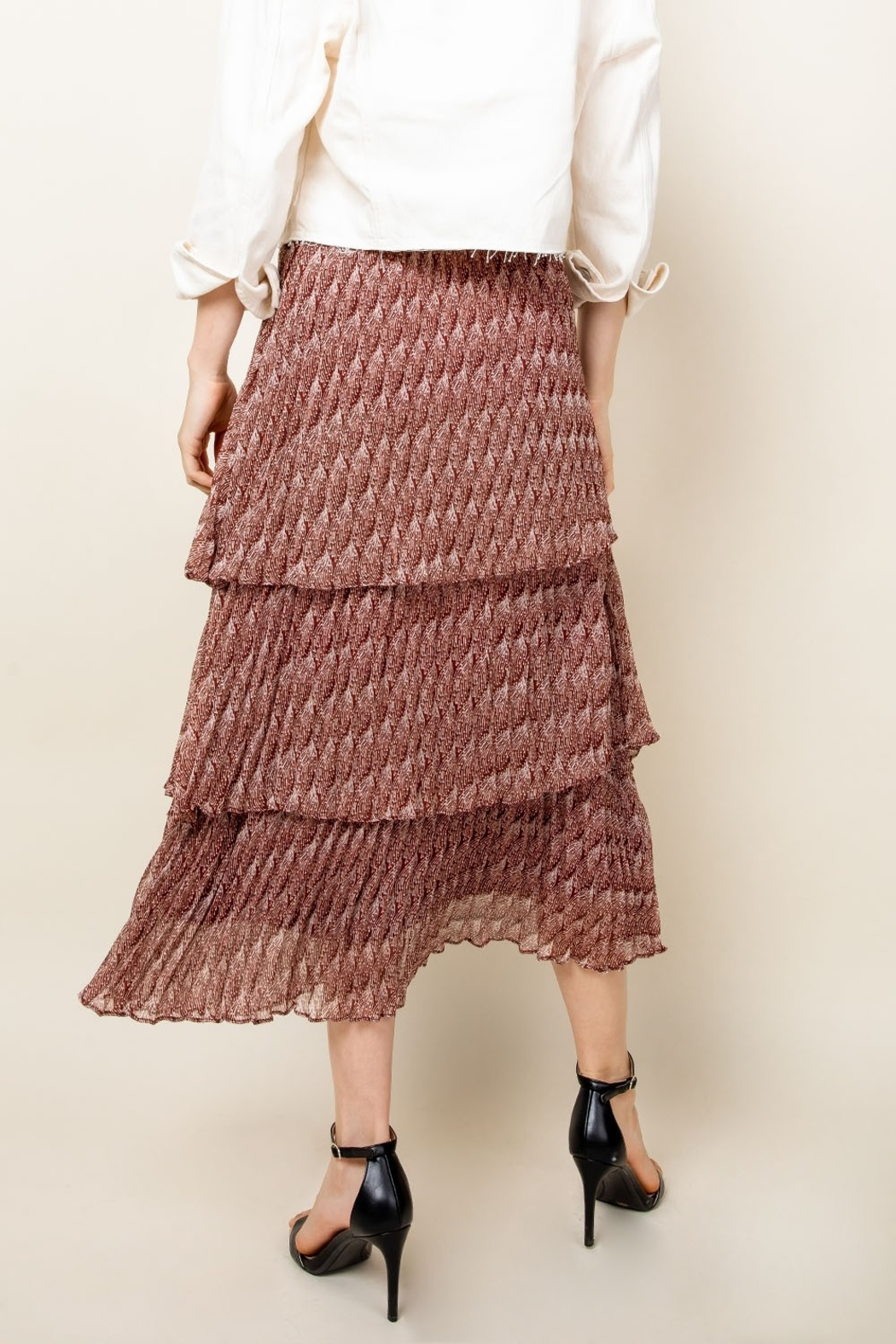 Thml Romance Me Pleated Tier Midi Skirt - Back Cropped Image