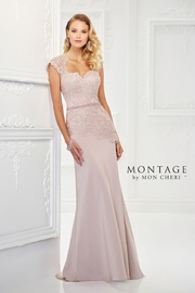 Montage Romantic Crepe Gown, Oyster - Product Mini Image