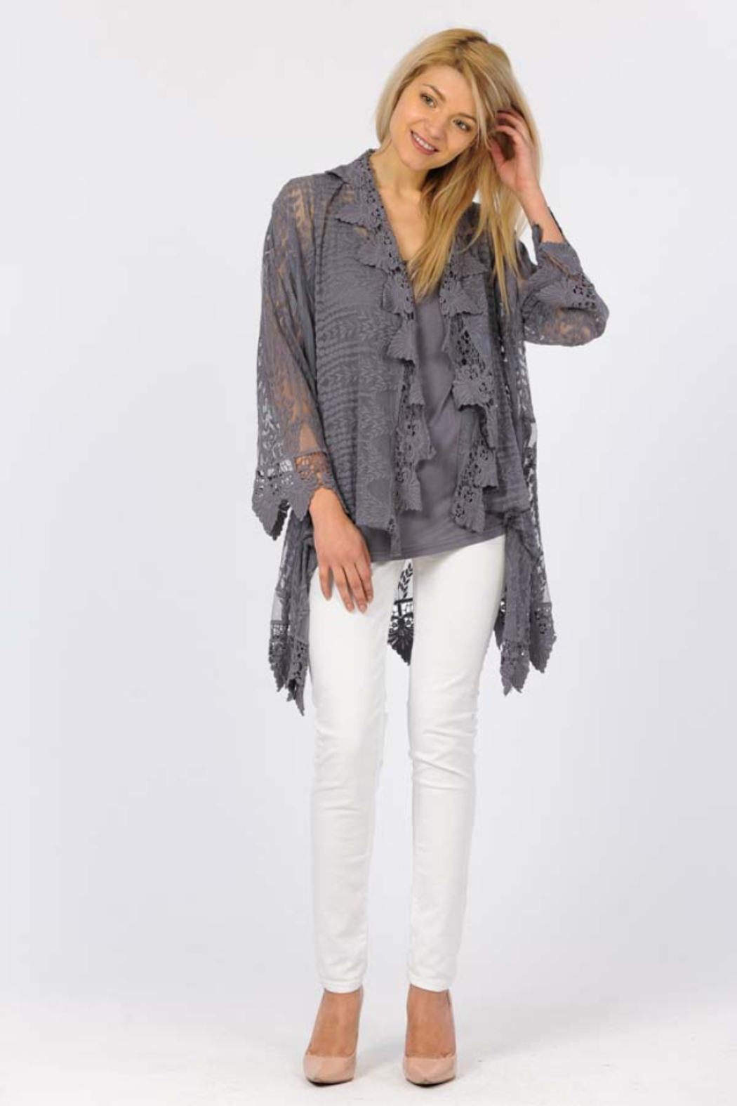 Apparel Love Romantic Lace cardigan - Side Cropped Image