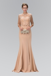 GLS Collective Rome Jersey Long Dress with Sheer Illusion Neckline - Product Mini Image
