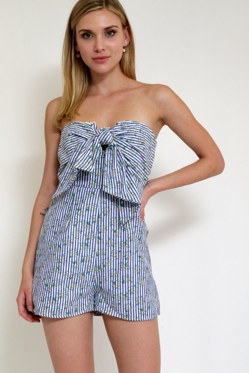 in the Beginning Romper Stripe Printflower - Front Cropped Image