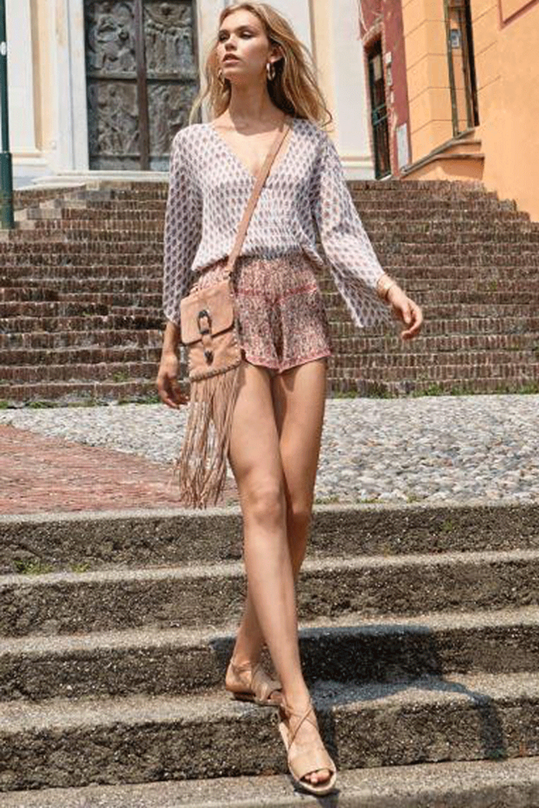 Elan Romper With Contrasting Patterns - Front Full Image
