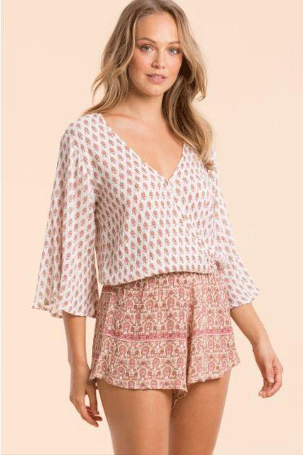 Elan Romper With Contrasting Patterns - Main Image