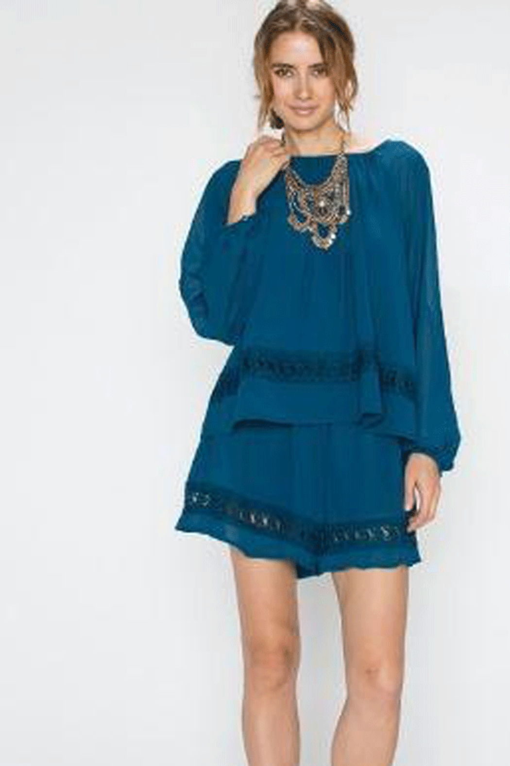 Faith Apparel Romper with Crochet Detailing - Front Cropped Image