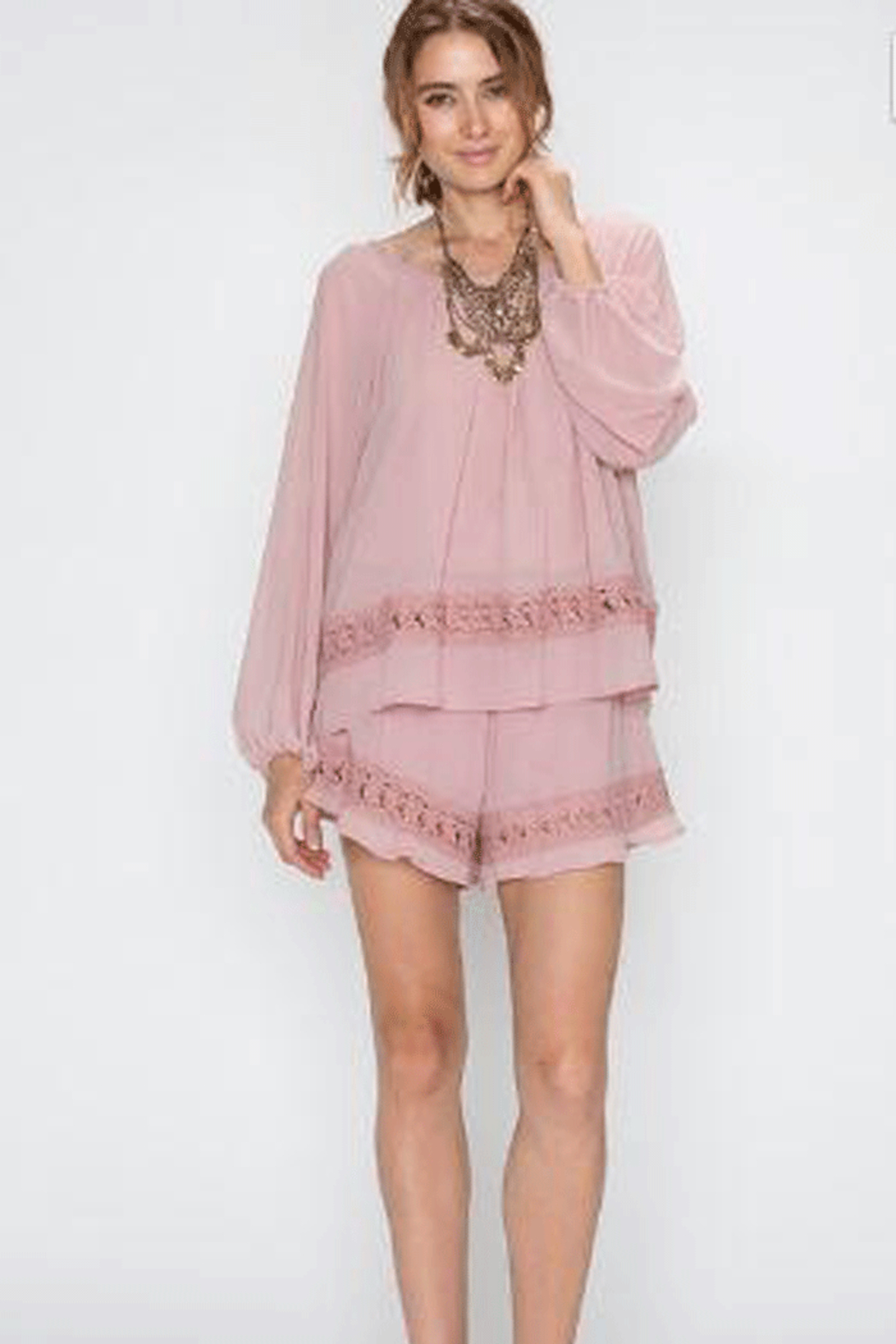 Faith Apparel Romper with Crochet Detailing - Main Image