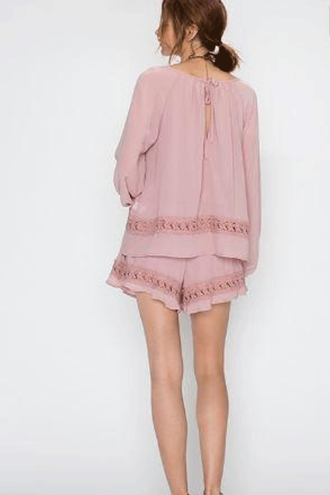 Faith Apparel Romper with Crochet Detailing - Front Full Image