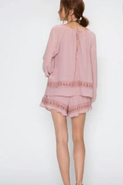 Faith Apparel Romper with Crochet Detailing - Front full body