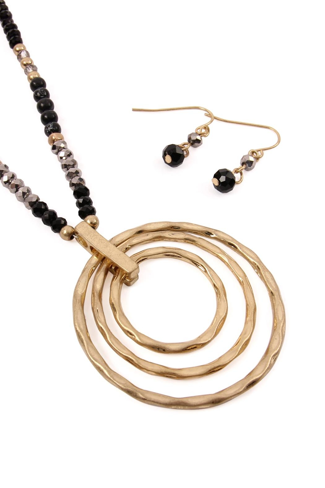 Riah Fashion Rondelle-Beads-Tri-Hoop Pendant-Necklace-And-Earrings-Set - Front Full Image
