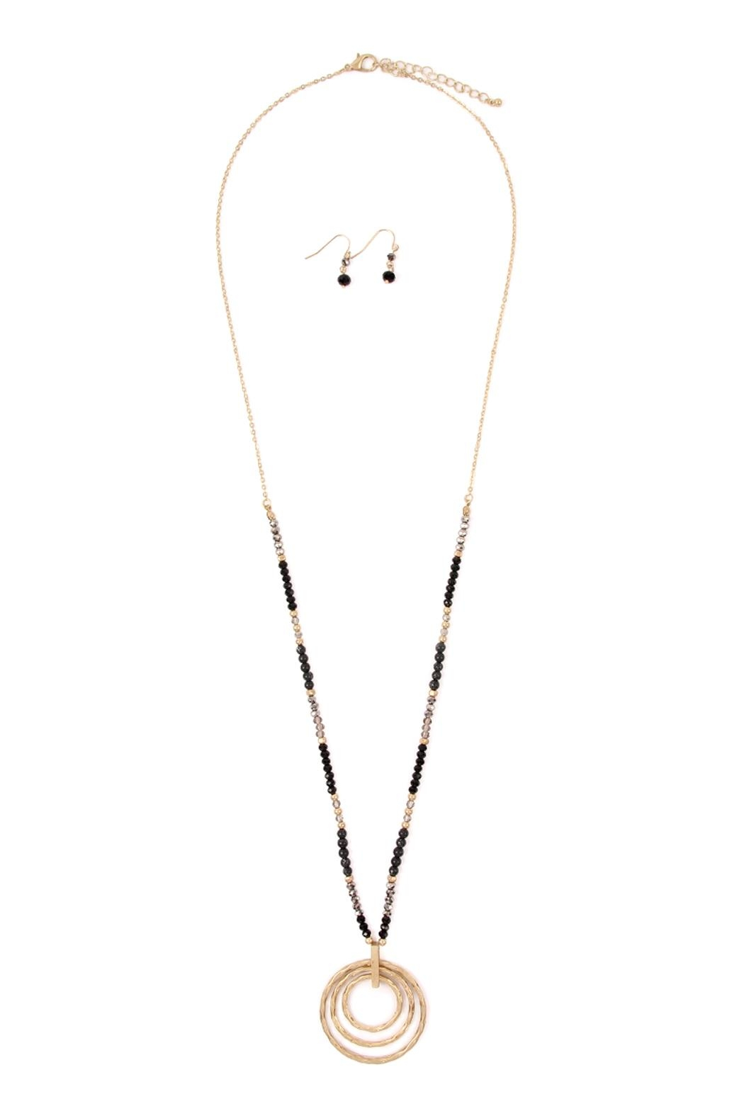 Riah Fashion Rondelle-Beads-Tri-Hoop Pendant-Necklace-And-Earrings-Set - Front Cropped Image