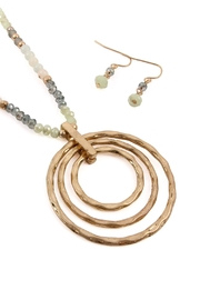 Riah Fashion Rondelle-Beads-Tri-Hoop Pendant-Necklace-And-Earrings-Set - Front full body