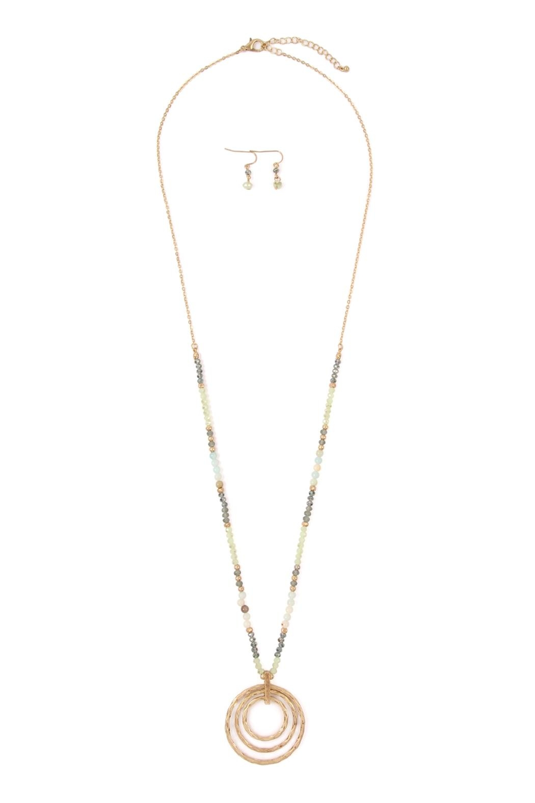 Riah Fashion Rondelle-Beads-Tri-Hoop Pendant-Necklace-And-Earrings-Set - Main Image
