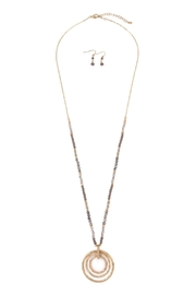 Riah Fashion Rondelle-Beads-Tri-Hoop Pendant-Necklace-And-Earrings-Set - Front cropped