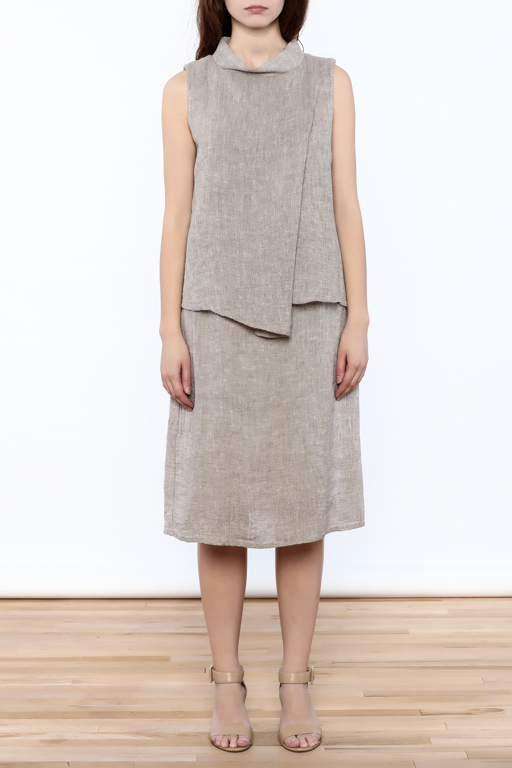 Ronen Chen Asymmetrical Linen Dress - Front Cropped Image