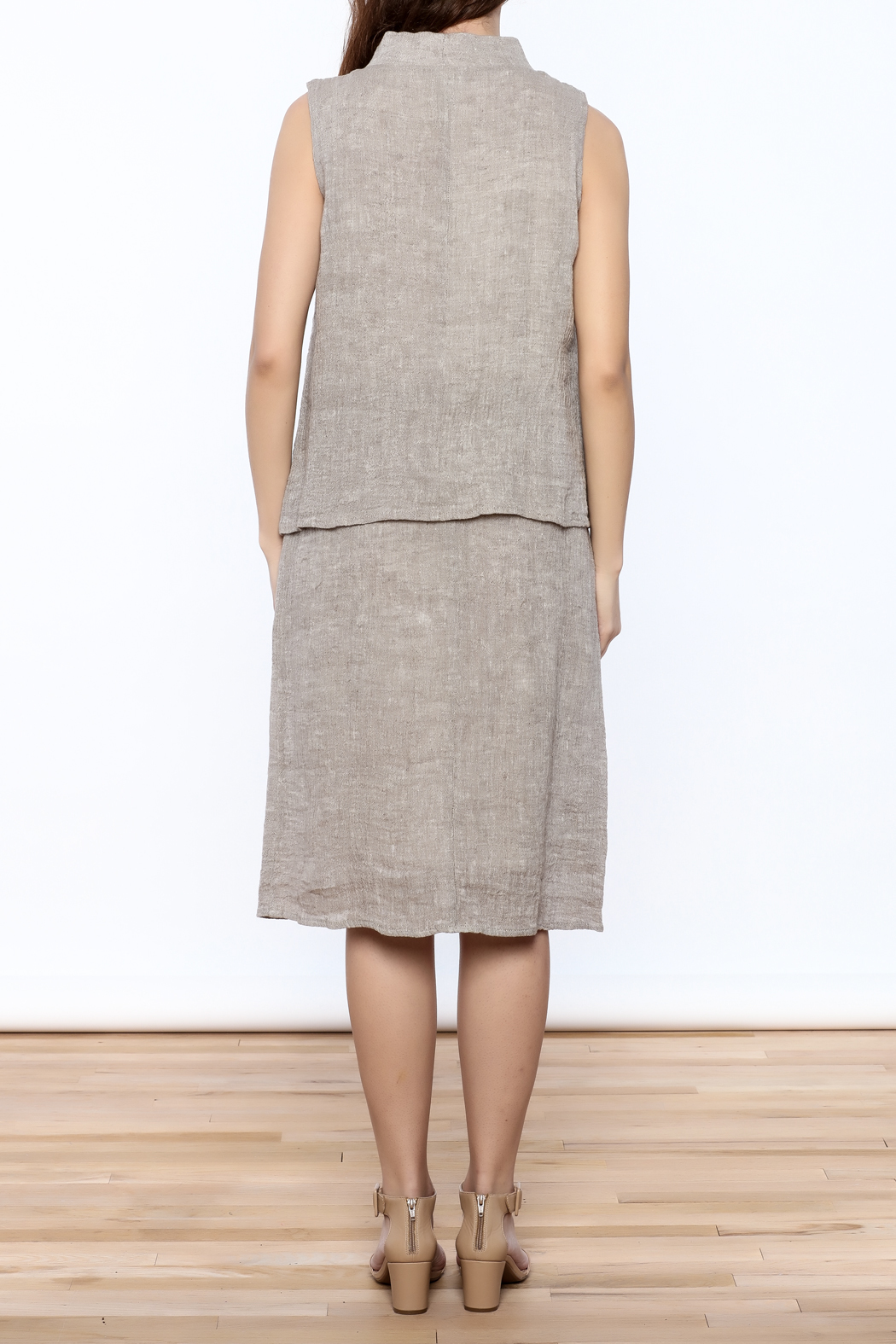Ronen Chen Asymmetrical Linen Dress - Back Cropped Image