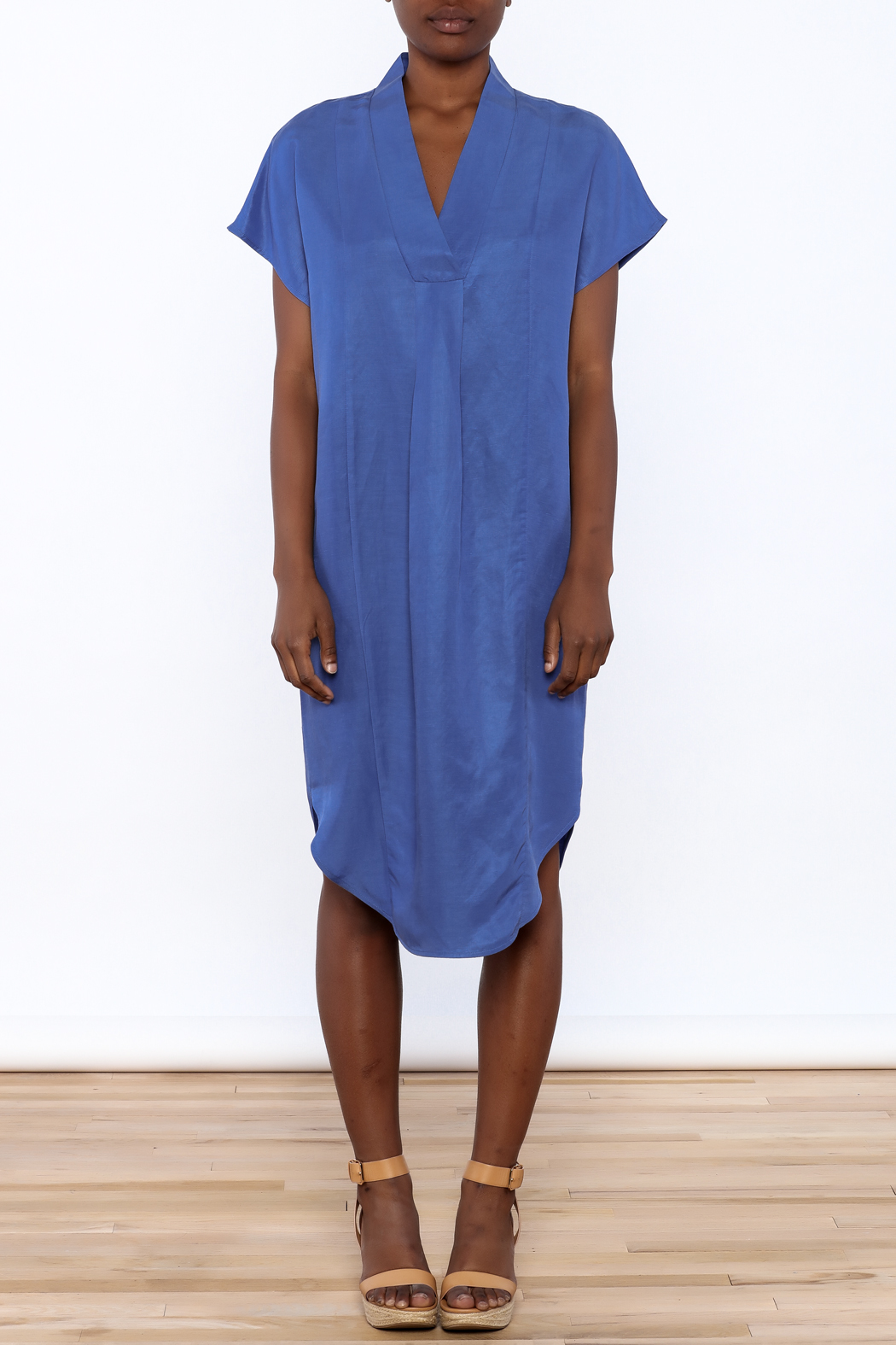 Ronen Chen Soft V Blue Dress - Front Cropped Image