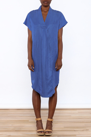 Ronen Chen Soft V Blue Dress - Front cropped