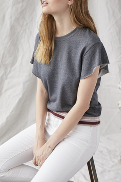 Grey State Ronnie Raw Slv Contrast Banded Waist Tee - Product List Image