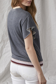 Grey State Ronnie Raw Slv Contrast Banded Waist Tee - Front full body
