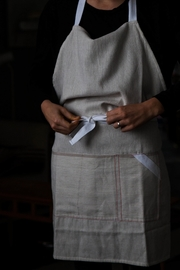 Roost Cotton Pin-Stripe Apron - Front full body