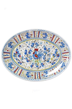 """Shoptiques Product: Rooster Blue Coupe Oval Platter 16"""""""