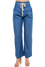 Jealous Tomato Rope-Tie Chambray Pants - Product Mini Image