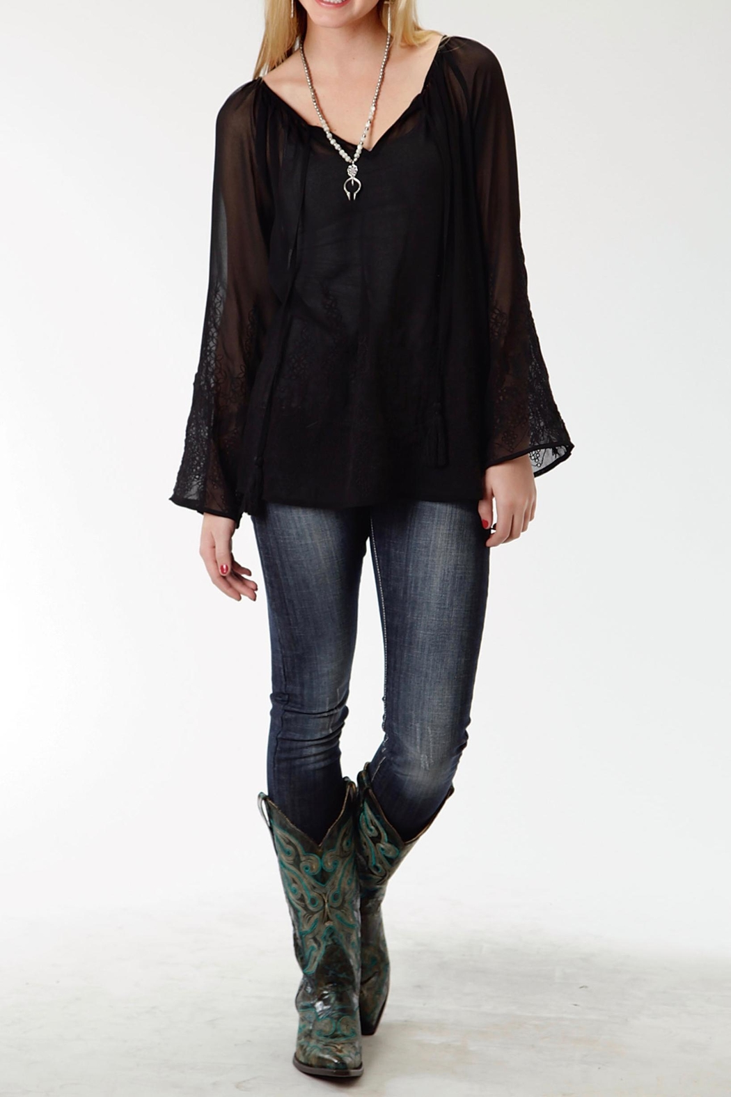 Roper Black Embroidered Blouse - Front Cropped Image