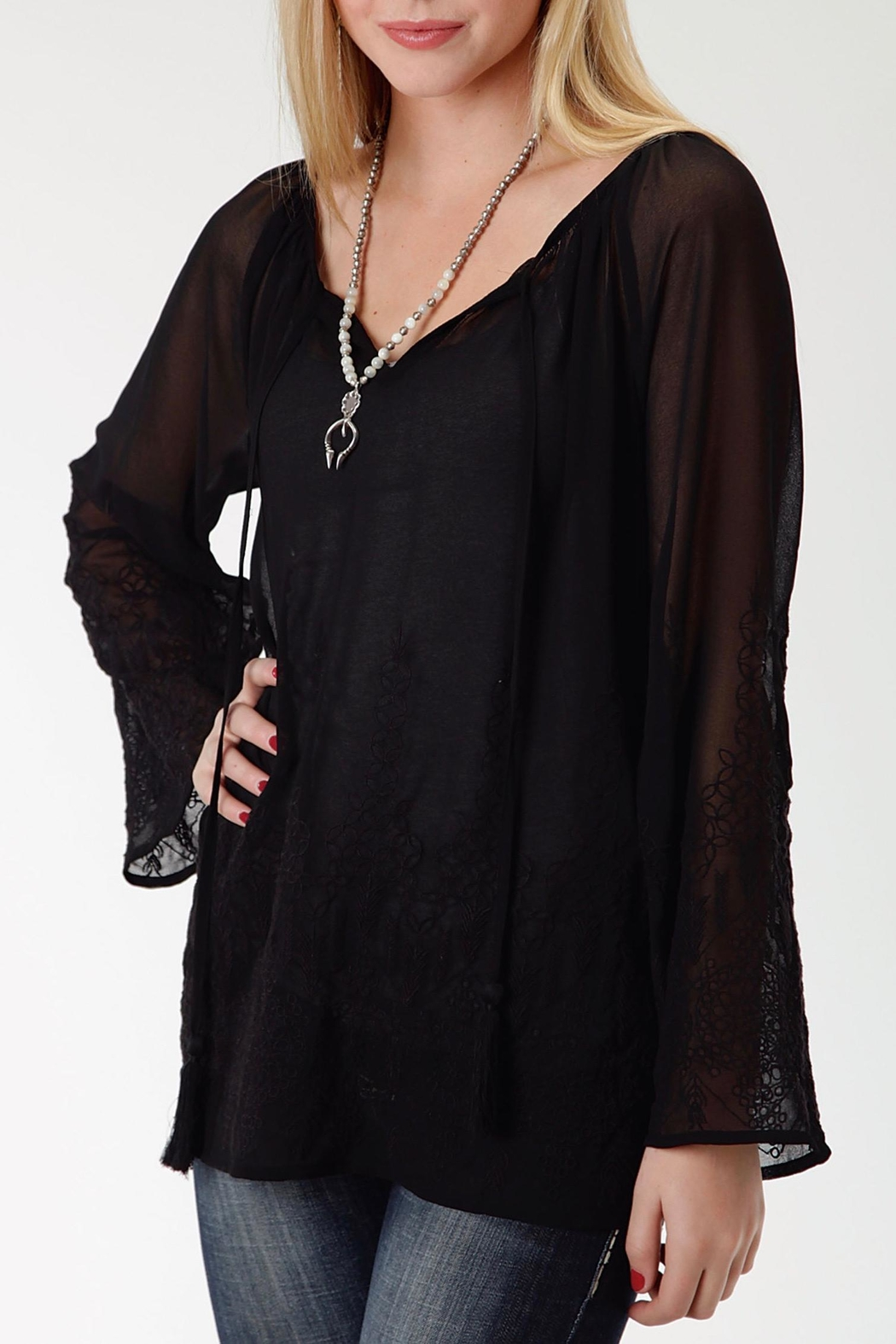 Roper Black Embroidered Blouse - Main Image