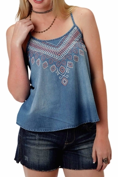 Roper Denim Embroidered Tank Top - Product List Image
