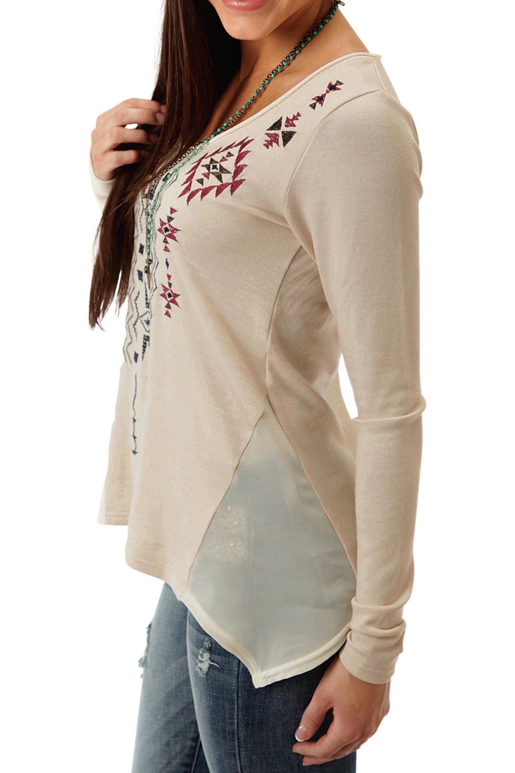 Roper Beige Embroidered Top - Front Full Image