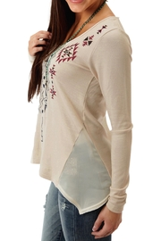 Roper Beige Embroidered Top - Front full body