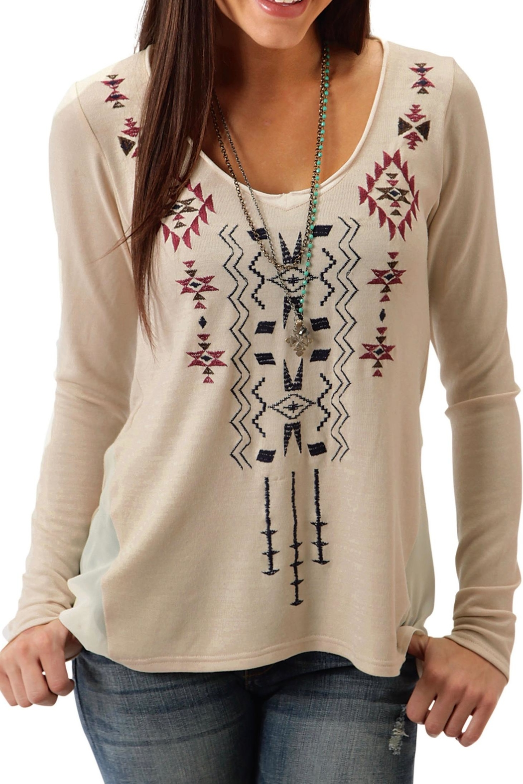 Roper Beige Embroidered Top - Main Image
