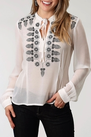 Roper Embroidered Pleated Blouse - Product Mini Image