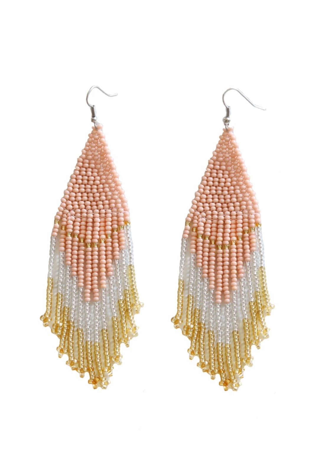 Fosterie  Rosé Beaded Earrings - Front Cropped Image