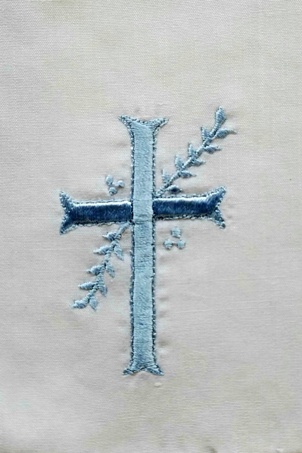 Rosalina Blue-Embroidered Cross Bib - Front Full Image