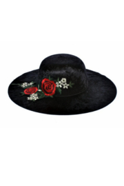 DiJore Rose Appliqued Wide Brimmed Hats - Product Mini Image