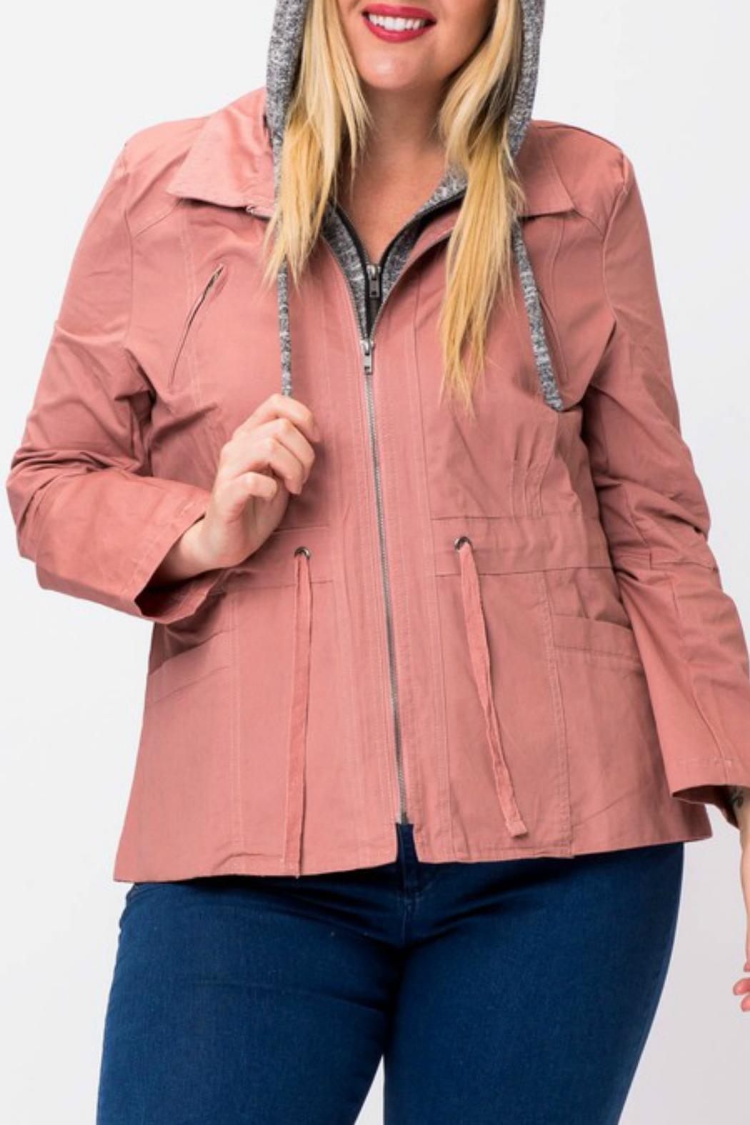 Love Tree Rose Cargo Jacket - Back Cropped Image
