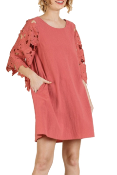 umgee  Rose Coral Lace Sleeve Dress - Product List Image