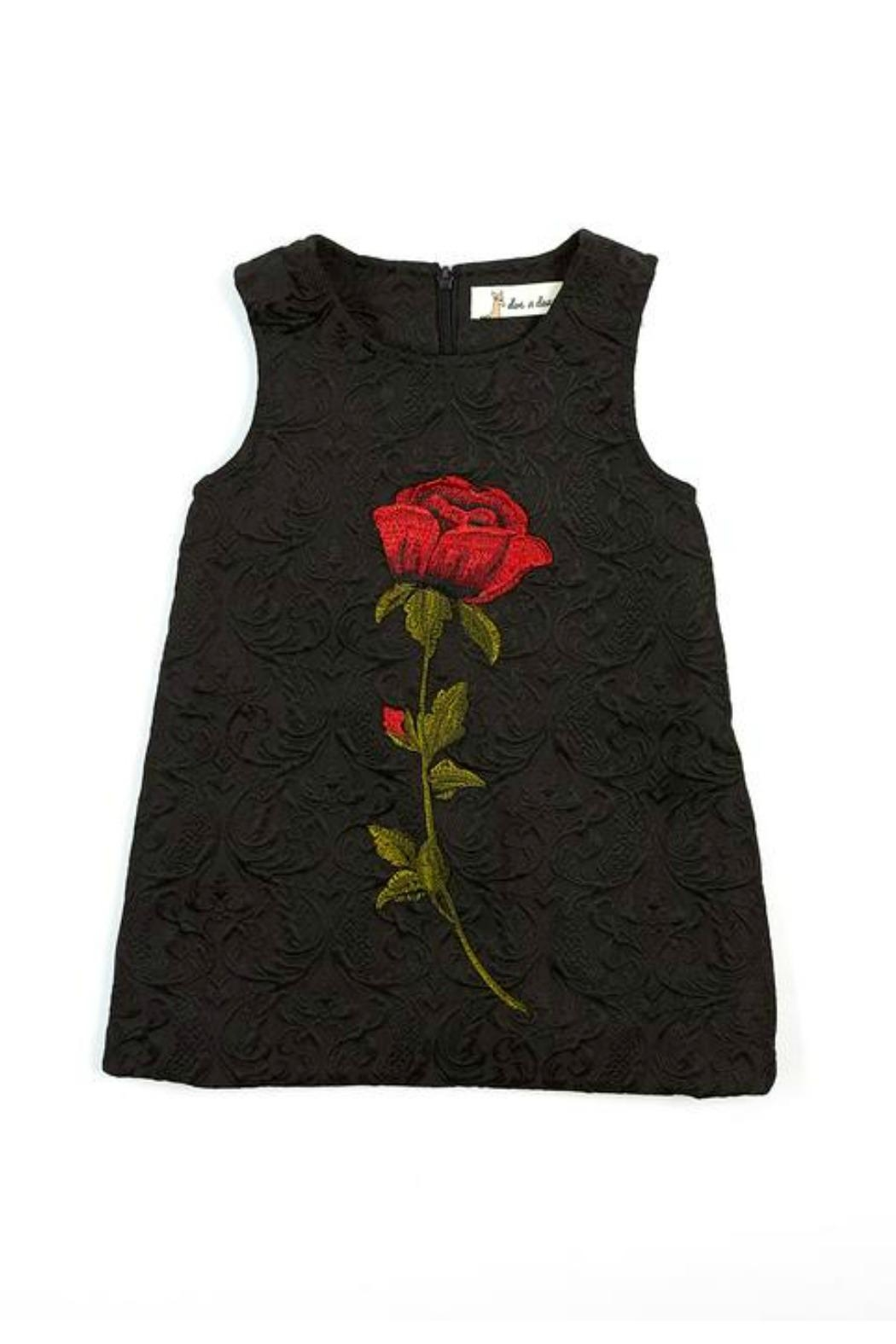 Doe a Dear Rose-Embroidered A-Line Dress - Front Cropped Image