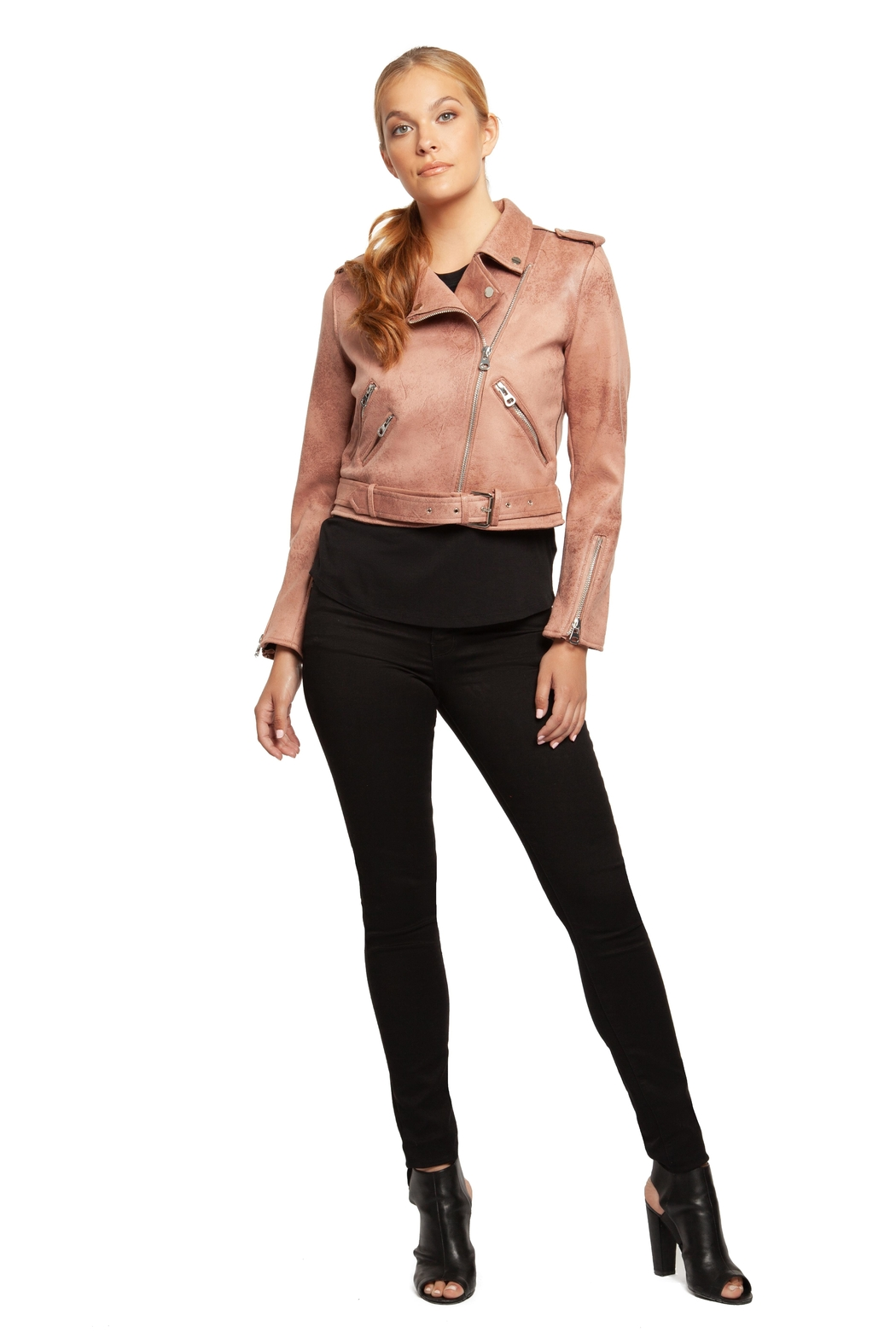 Dex Rose Faux-Suede Moto-Jacket - Front Cropped Image