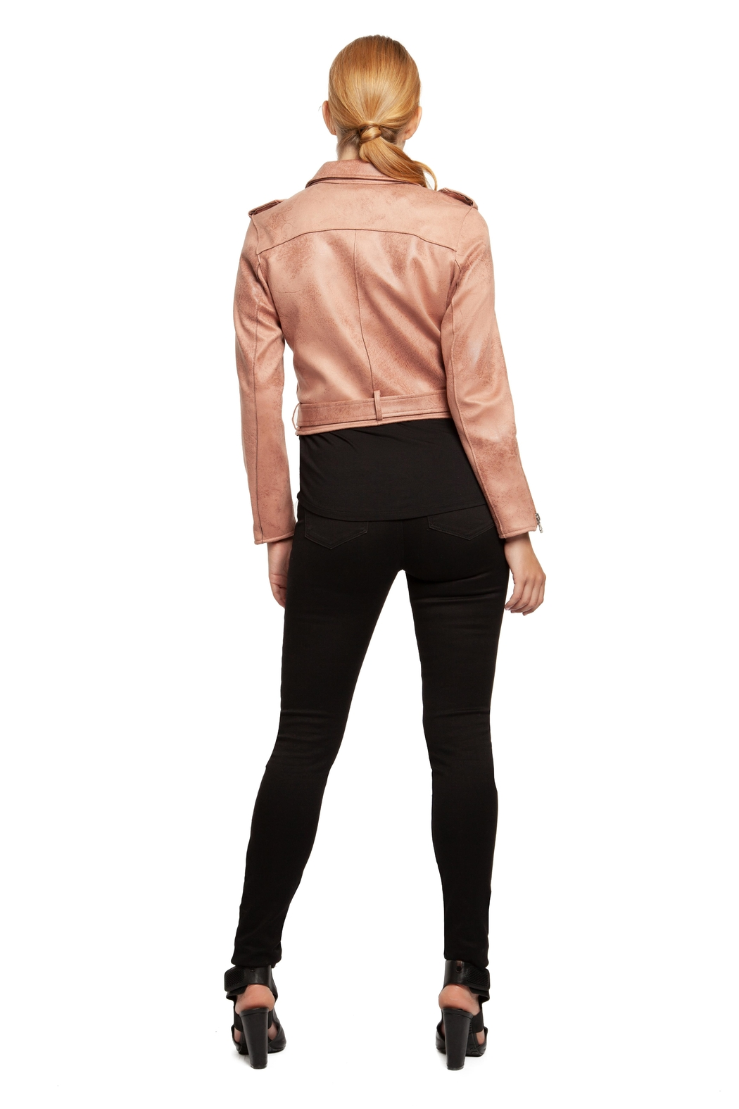 Dex Rose Faux-Suede Moto-Jacket - Side Cropped Image